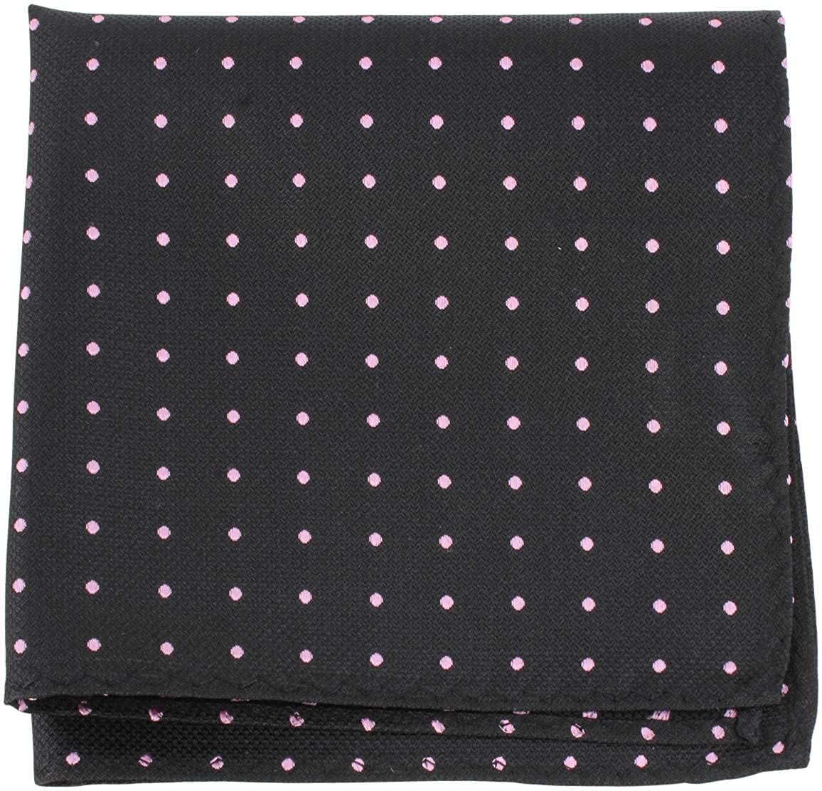 Knightsbridge Neckwear Mens Pin Dot Silk Pocket Square Black//Pink