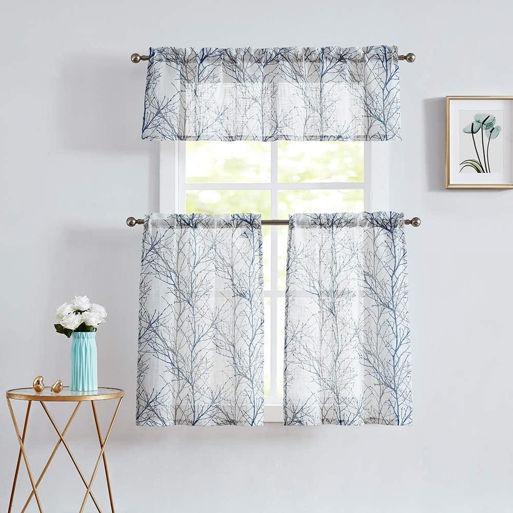 Fmfunctex White Kitchen Curtains Windows Tree Branch Print Semi-Sheer Tiers for Bathroom Small Caf/é Curtain Set 2 Panels Grey//Blue 24 Length