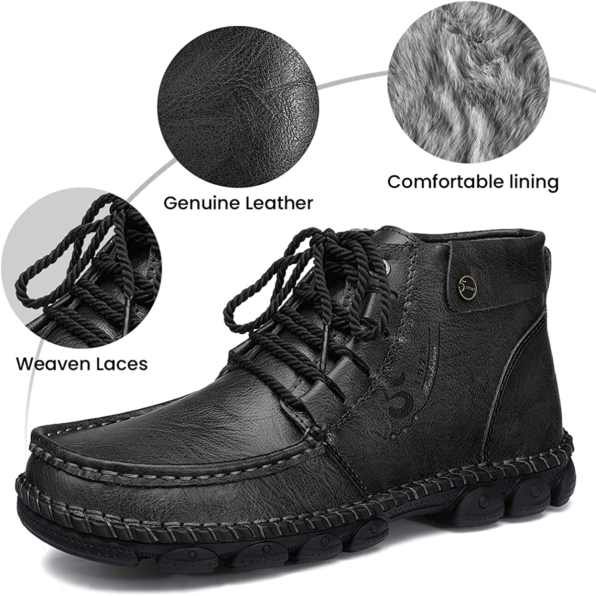 gracosy Mens Leather Ankle Boots Winter Fur Lining WAS £39.99 NOW £23.99 w/code gracosy1026a @ Amazon