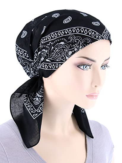 2df12ce1631 Paisley Bandana Scarf Pre Tied Cotton Chemo Hat Turban for Cancer Black