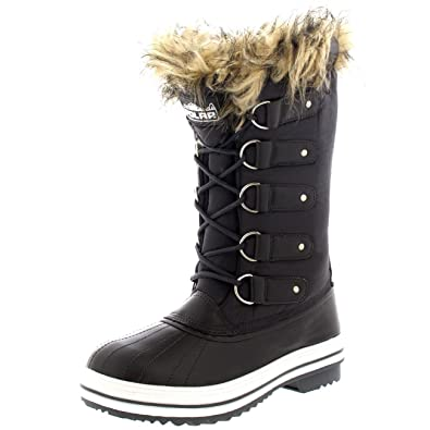 Womens Lace Up Rubber Sole Tall Winter Snow Rain Shoe Boots - 8 - GRN39  YC0059