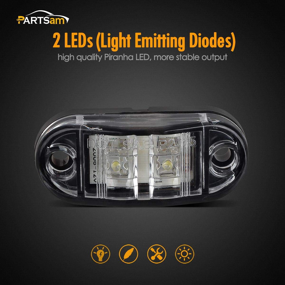 Partsam 2X Trailer Truck Surface Mount LED Oval 2.5 Red Side Marker Lamp Bulb 2 Diode