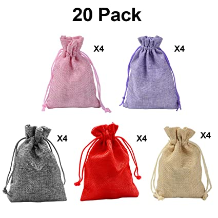 20 PCS Color Mezclado Bolsa de arpillera de Lino con cordón, Bolsas de Fiesta, Bolsas de Regalo, Sacos de Yute, Bolsa de joyería para Boda, Fiesta, ...