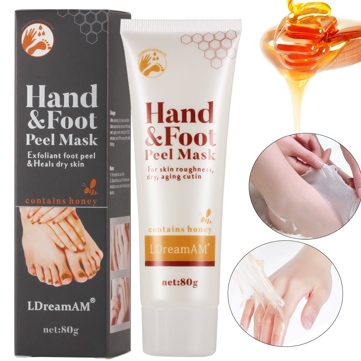 Exfoliating Foot Mask Peeling Foot Mask Moisturizing Socks, Mask, Spa Moisturising Mask for Dry Skin, Hydrating, Repair and Rejuvenate Your Foot Feet and Hands LDREAMAM