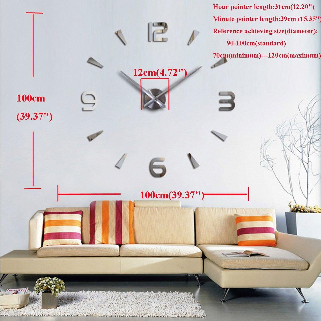 Amazon.com: 3D Wall Clock DIY Large Sticker Modern Frameless Home ...