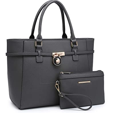 e3120b72112c3 Amazon.com  Large Satchel Handbags Leather Top Handle Tote Designer Purse  with Pouch Set  Shoes