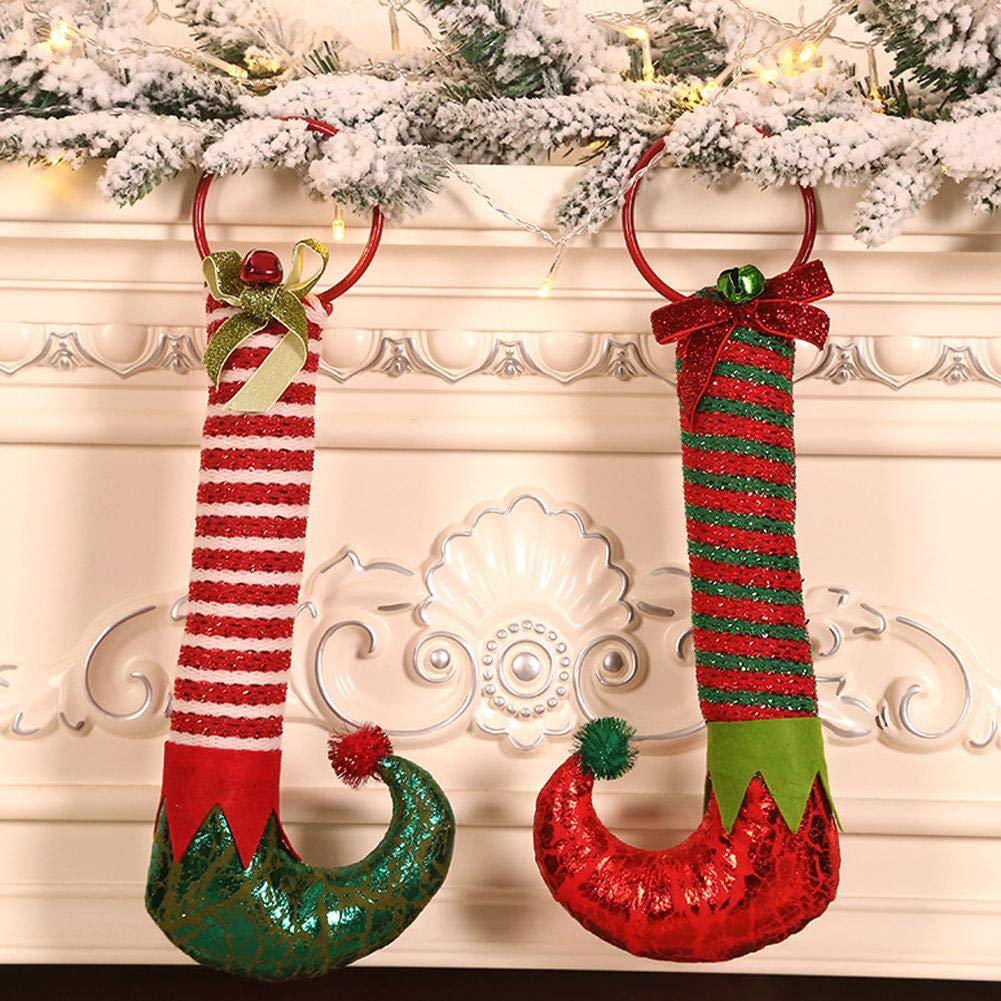 New Christmas Decorations Hanging Hoops Hanging Elf Boots Door Knockers Bells Christmas Day Creative pegtopone Elf Legs Hanging Decor