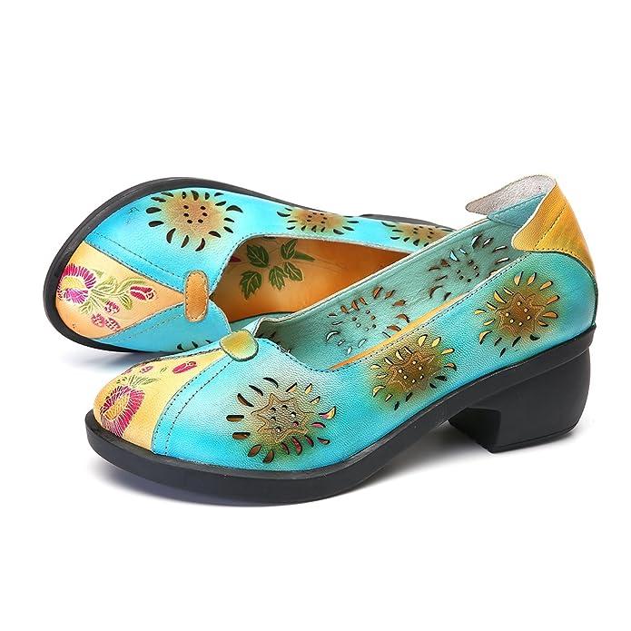 gracosy Damen Pumps, Mary Jane Schuhe Leder Slipper Damen Halbschuhe Party Schuhe Leder Klassische Pumps Vintage Flats Blockabsatz Blau 41