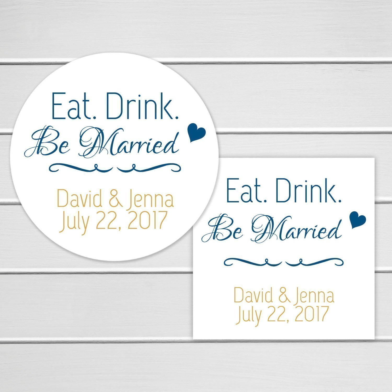 Amazon.com: Eat Drink Be Married Stickers, Wedding Favor Labels ...