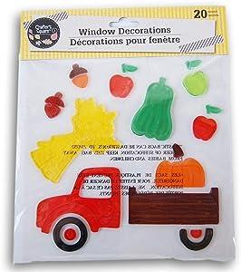 Autumn Fall Themed Gel Cling Set - Harvest Truck - 20 Piece