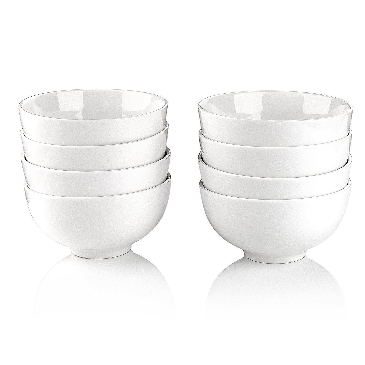 Malacasa, Series Regular, Ivory White Porcelain 5'' / 15oz Cereal Soup Rice Bowls, Set of 8
