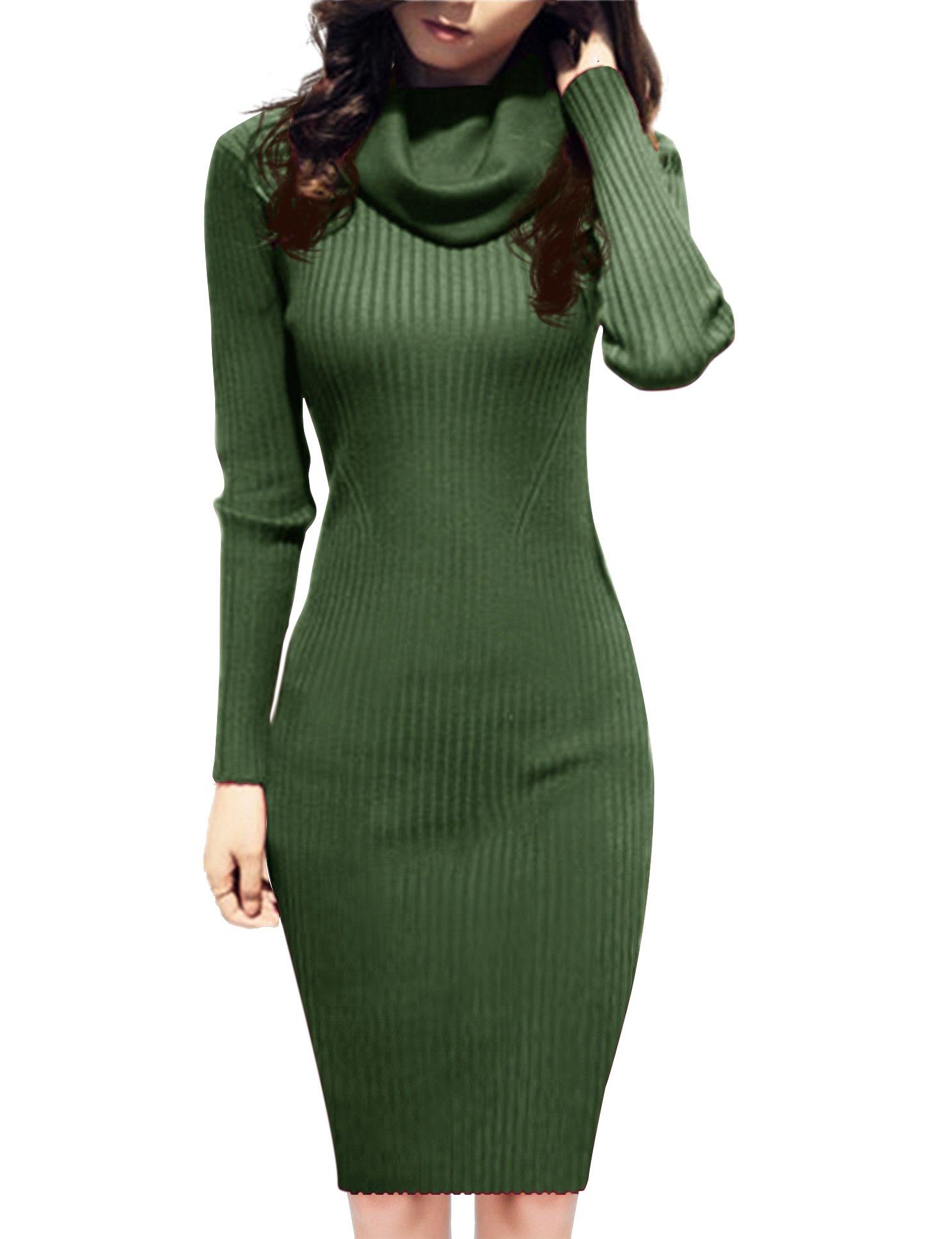 v28 Women Knit Cowl Neck Elastic Long Sleeve Stretchable Slim Knee Sweater Dress (Size2-8, ArmyGreen)