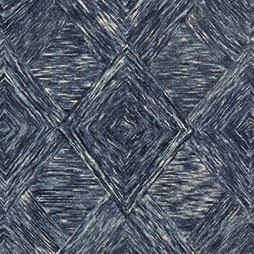 Rivet Motion Patterned Wool Area Rug, 8' x 10'6, Denim Blue by Rivet (Image #1)