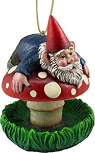 "DWK 6.75"" Bottom's Up! Whimsical Gnome on a Mushroom Hanging Bird Feeder Fantasy Fairy Garden Home and Patio Decor Accent"