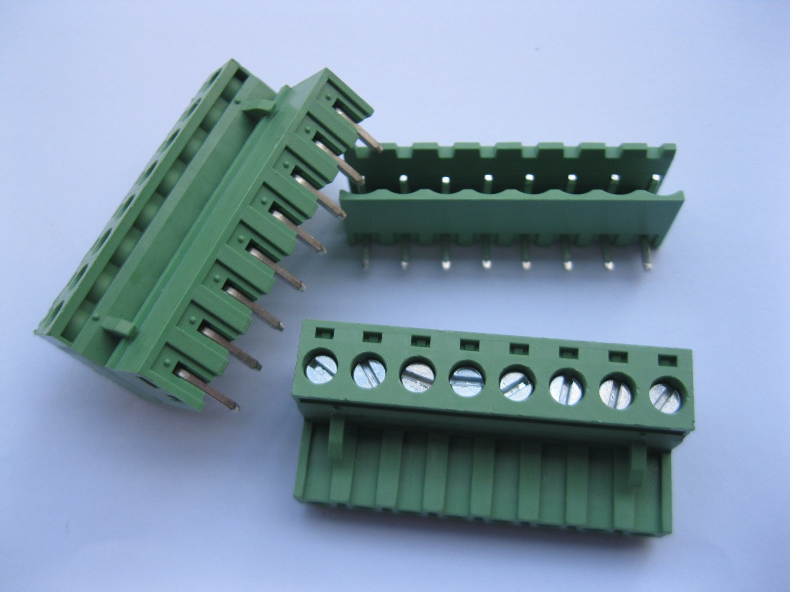 10 Pcs Pitch 5.08mm Angle 8way/pin Screw Terminal Block Connector w/ Angle-pin Green Color Pluggable Type Skywalking by Skywalking