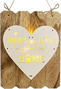 Welcome Sign Fall Porch Decor, Rustic Round Wooden Home Wall Decor With LED Lights,Front Door Indoor Outdoor Living Room Hanging Vertical Sign, Farmhouse Porch Decorations for Home