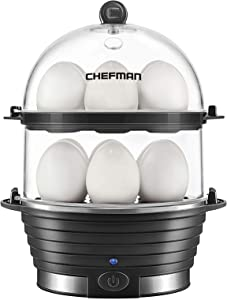 Chefman Electric Egg Cooker Boiler, Rapid Egg-Maker & Poacher, Food & Vegetable Steamer, Quickly Makes 12 Eggs, Hard or Soft Boiled, Poaching and Omelet Trays Included, Ready Signal, BPA-Free, Black
