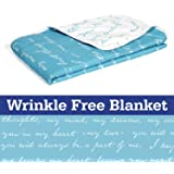 Divine Casa Natty Abstract Microfibre Single Blanket - Sky Blue and White