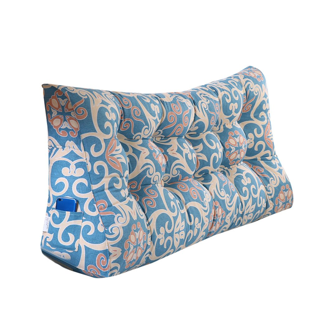 MS Pillow Light Color Pattern Bedside Triangle Cushion Pillow Tatami Backrest Lumbar Pillow Protection Waist Bed Cushion Sofa Back Multiple by MS