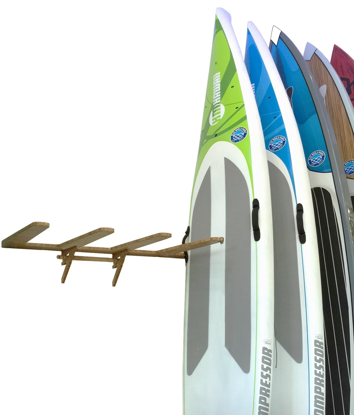 Bamboo Vertical Wall-Mounted SUP Rack for 4 Paddleboards or Surfboards - Grassracks