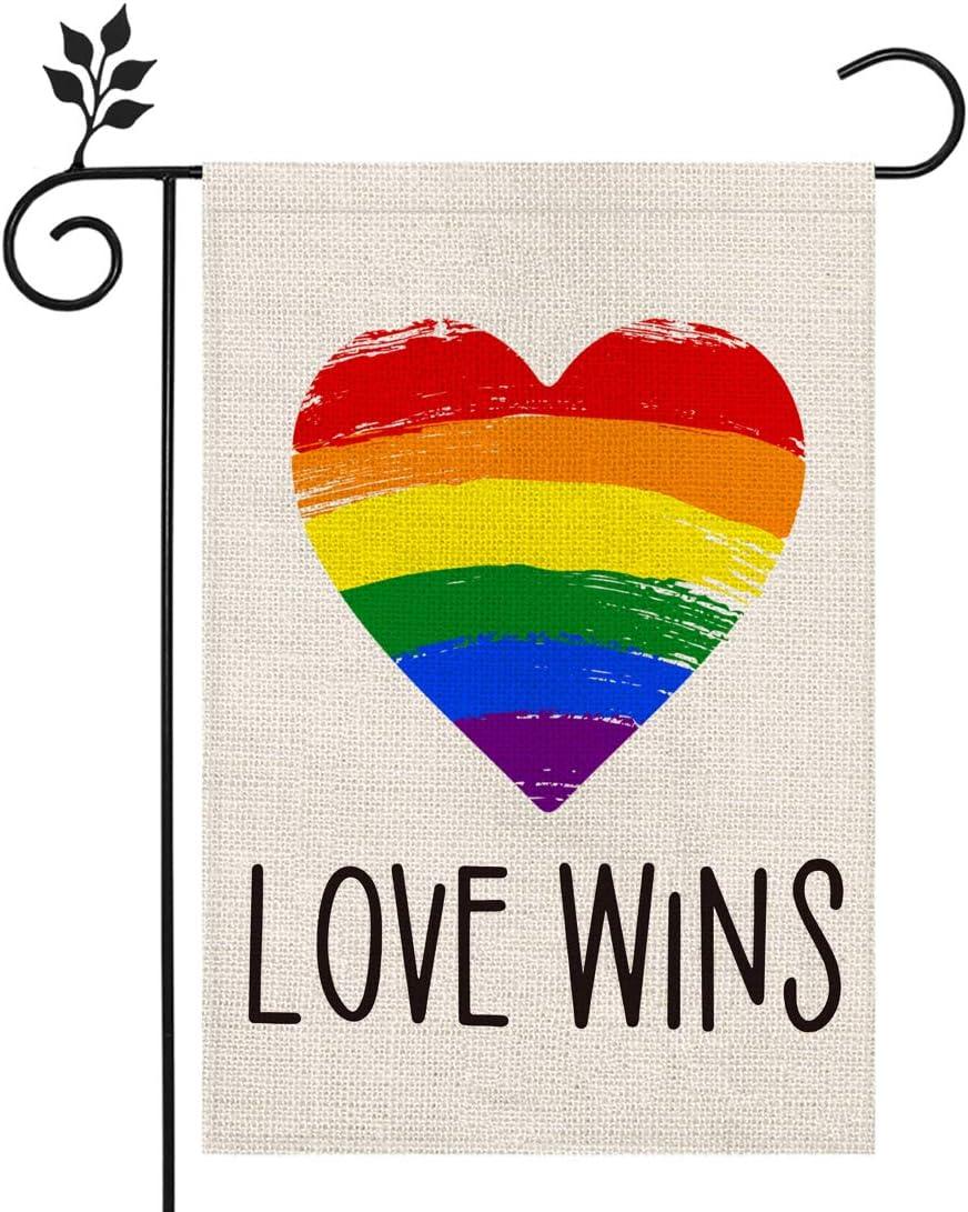 CROWNED BEAUTY LGBT Pride Rainbow Garden Flag 12×18 Inch Love Wins Heart Small Vertical Double Sided Seasonal Outside Décor for Yard Farmhouse CF066-12