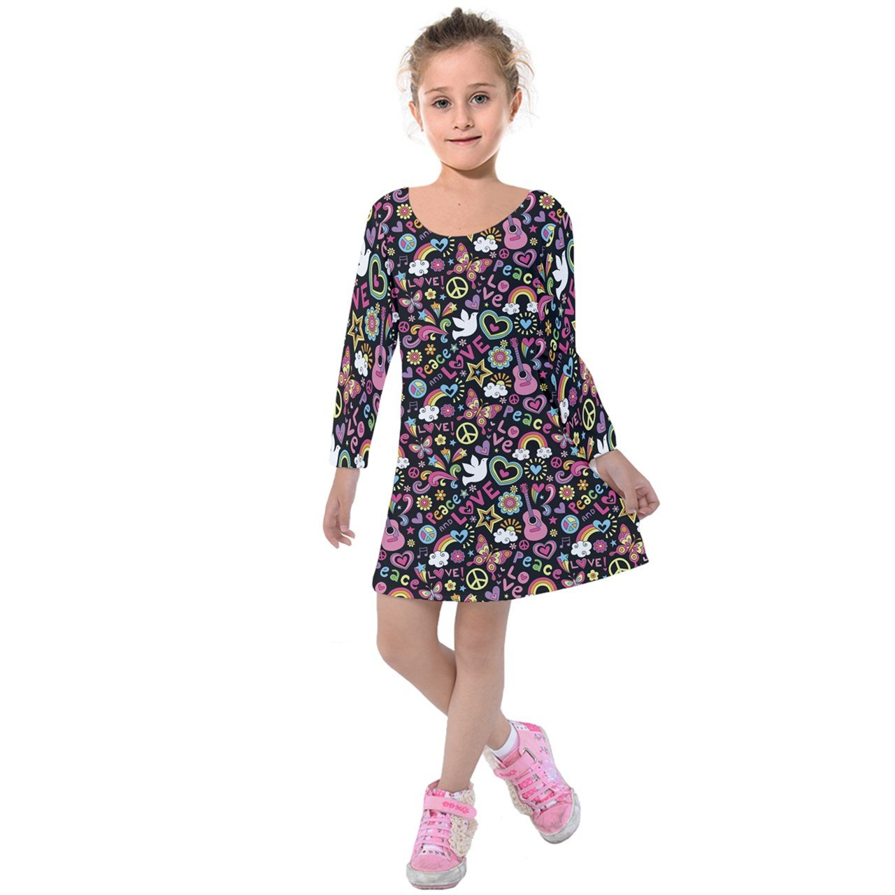 PattyCandy Girls Love & Music Groovy Doodle Kids Long Sleeve Velvet Dress - 8