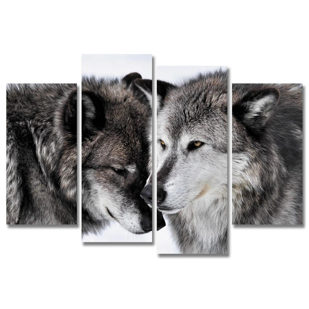 Amazon.de: JAJUQH Wolf Leinwand Kunst 4 pcs Moderne Tier Wall Bilder ...