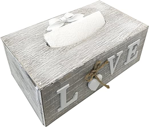 FineHome Tissue - Caja para pañuelos de Papel (Madera), Color Blanco y Gris: Amazon.es: Hogar