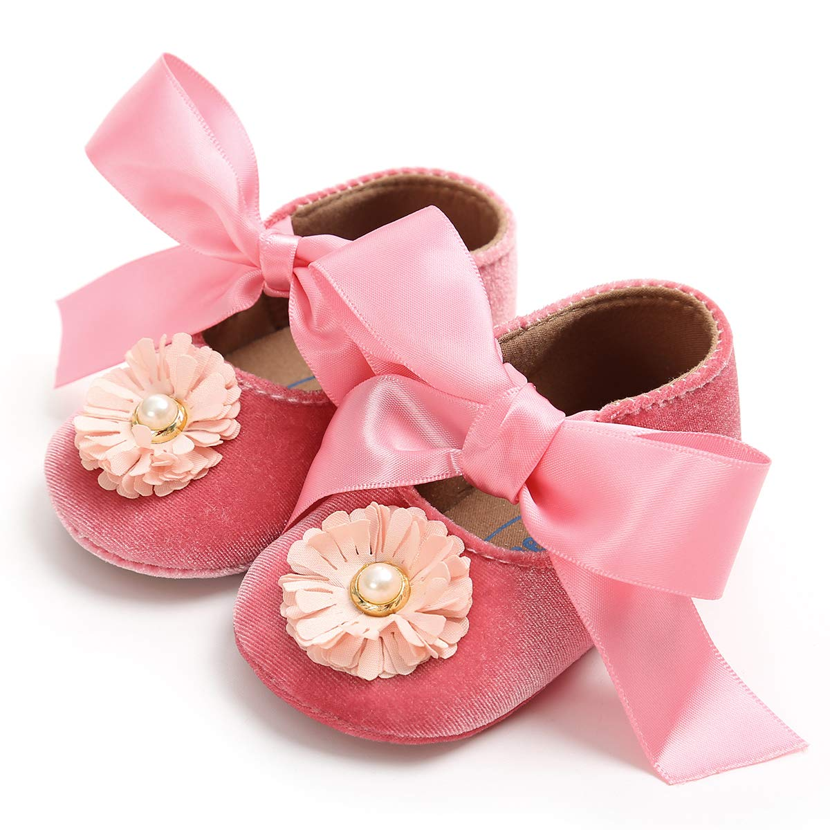 LIVEBOX Newborn Baby Girl Shoes,Anti-Slip Infant Toddler Prewalker Soft Rubber Sole Shoes with Premium Flowers Bow Mary Jane Princess Party Dress Crib Shoes