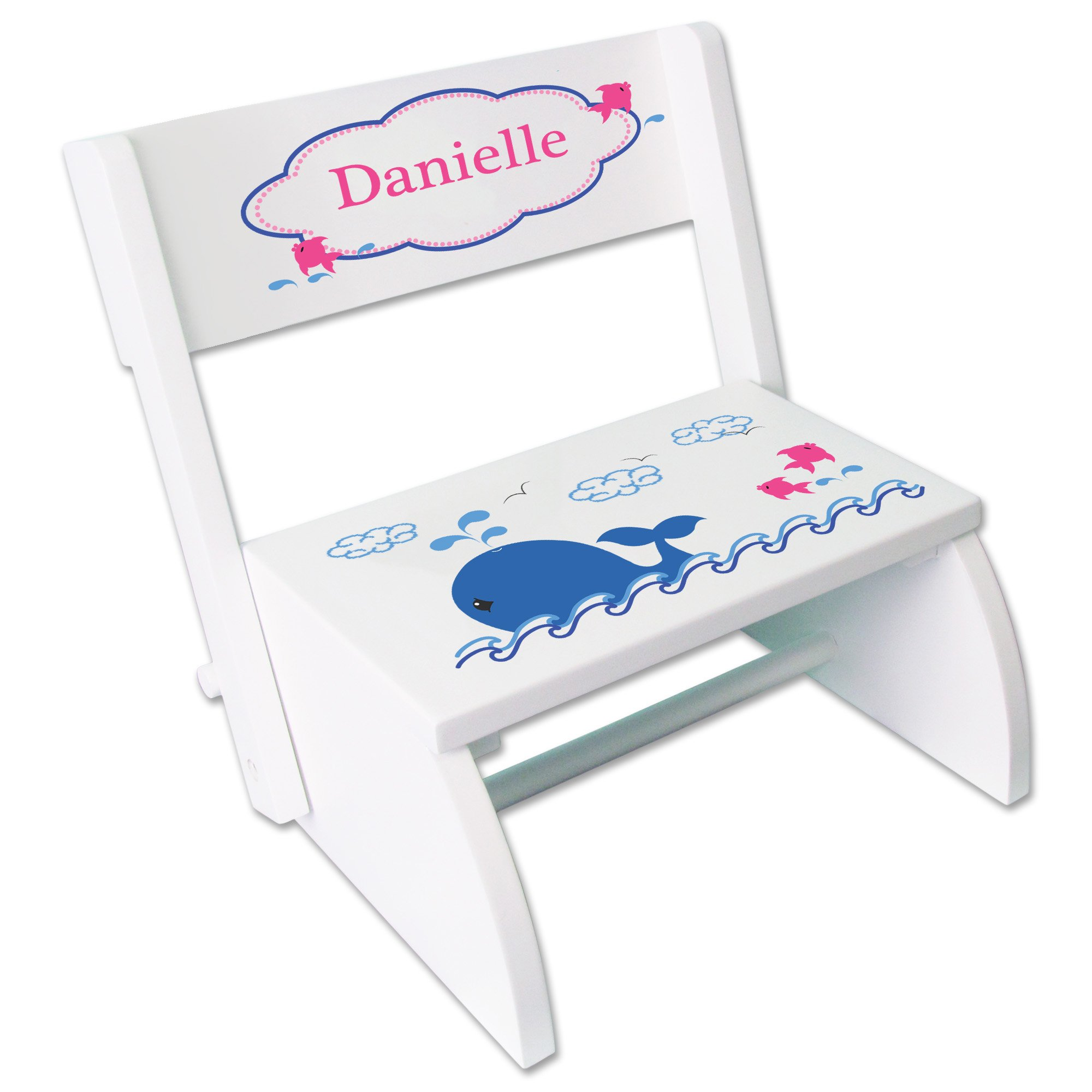 Personalized Pink Whale Childrens and Toddlers White folding stool