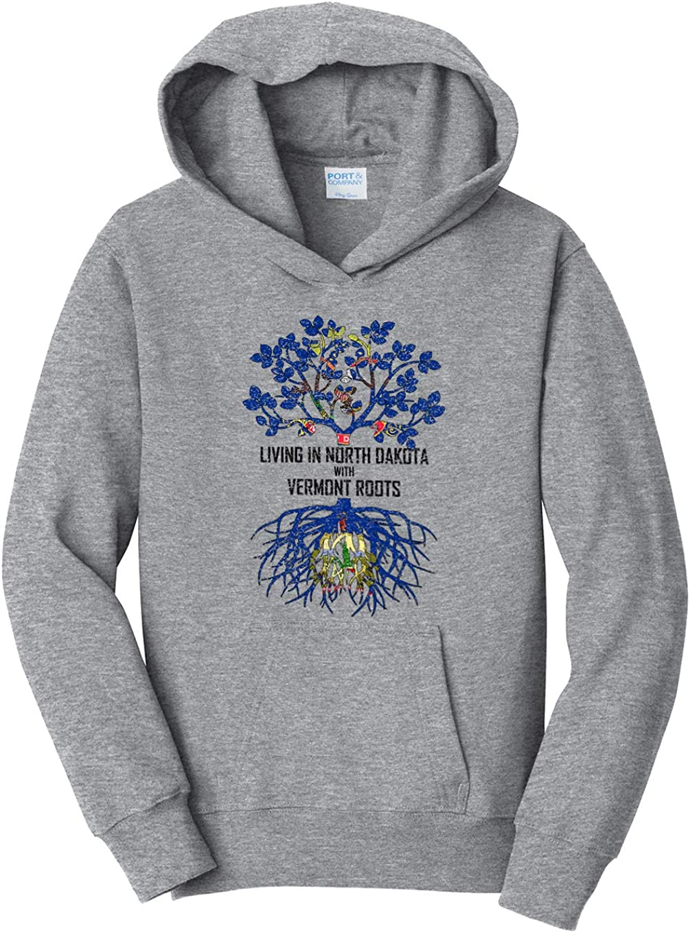 Tenacitee Girls Living in North Dakota with Vermont Roots Hooded Sweatshirt