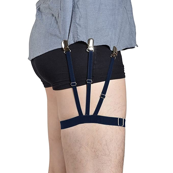 f14d0c5a8 Image Unavailable. Image not available for. Colour  Lana Vels Unisex Shirt  Stays Holder Elastic Belt Non-slip Locking Clamps Garter (Black