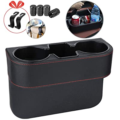 Homesprit Car Cup Holder with Phone Holder, Seat Gap Filler with Leather Cover, Side Seat Cup Holder for Storing and Organizing Car Drinking Cup Pocket Etc(Frame): Automotive