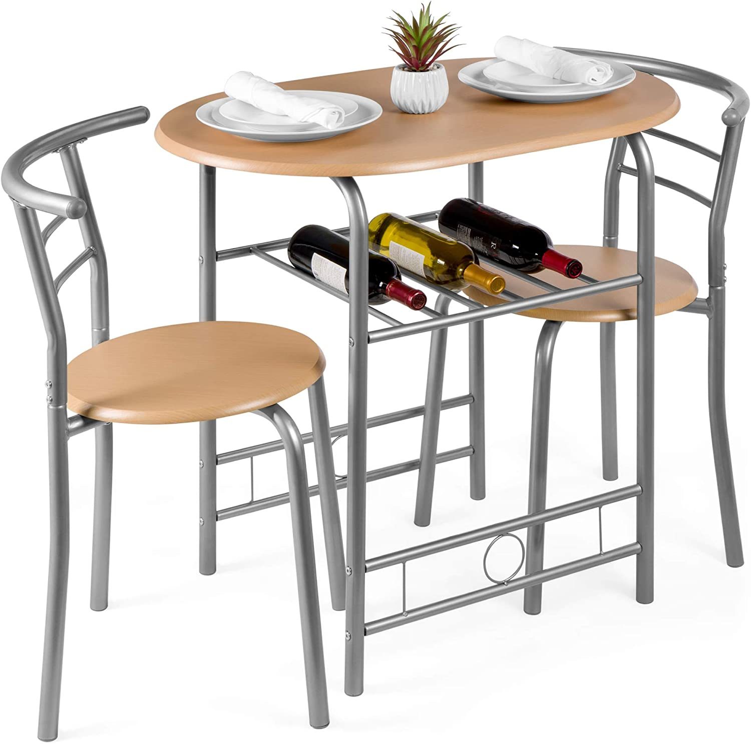 Amazon Com Best Choice Products 3 Piece Wooden Round Table Chair Set For Kitchen Dining Room Compact Space W Steel Frame Built In Wine Rack Natural Furniture Decor