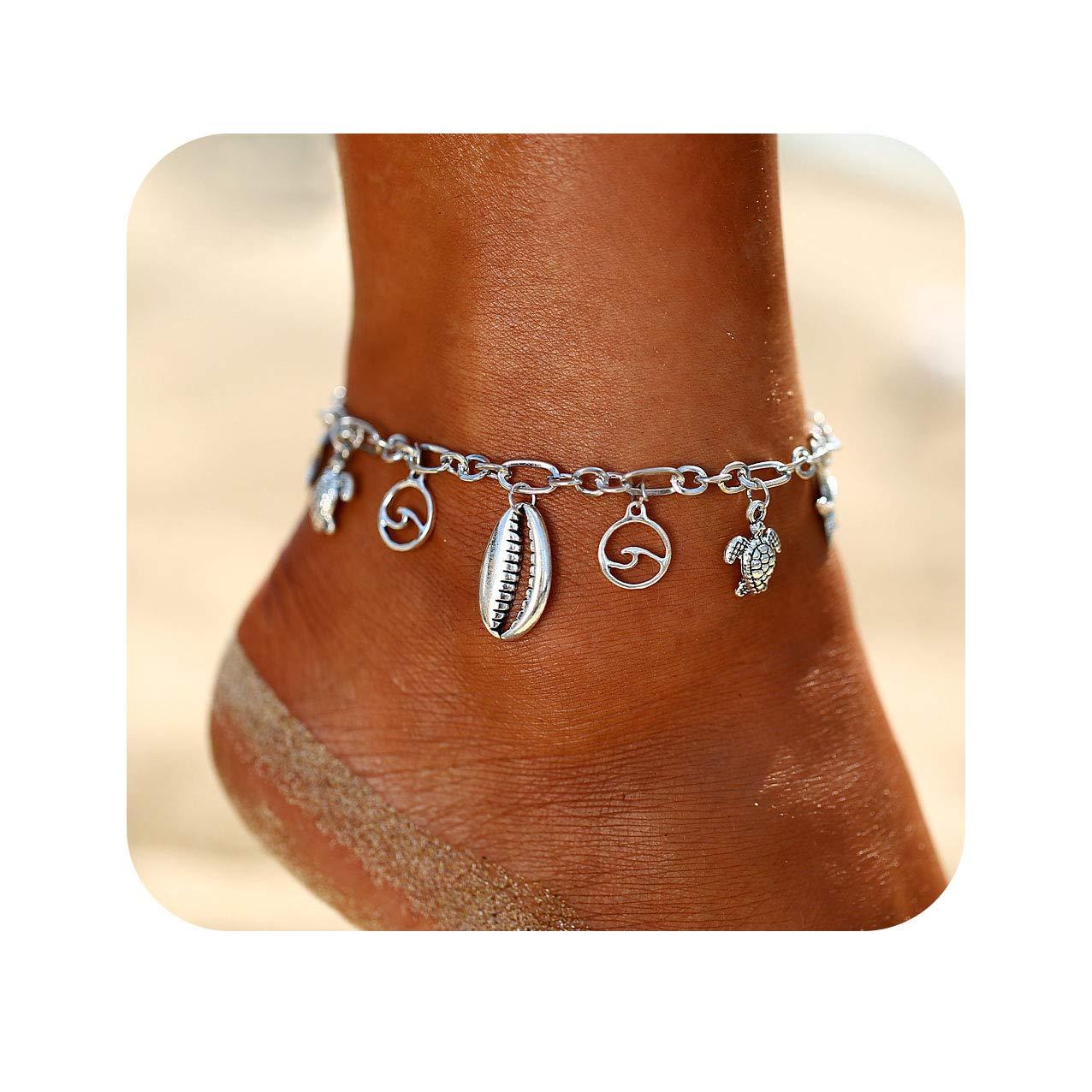 Nager Boho Wave Turtle Pendant Anklets Shell Starfish Bohemian Foot Chain Anklet Bracelets Jewelry For Women B07FNDVWJF_US