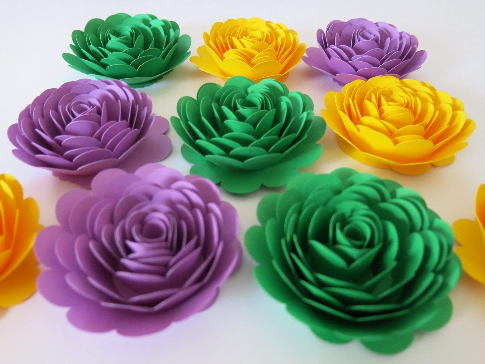 Mardi-Gras-Party-Decorations-Set-of-10-Paper-Flowers-Big-3-Roses-Loose-Floral-Decor-Purple-Green-Yellow-Color-New-Orleans-Theme-Event