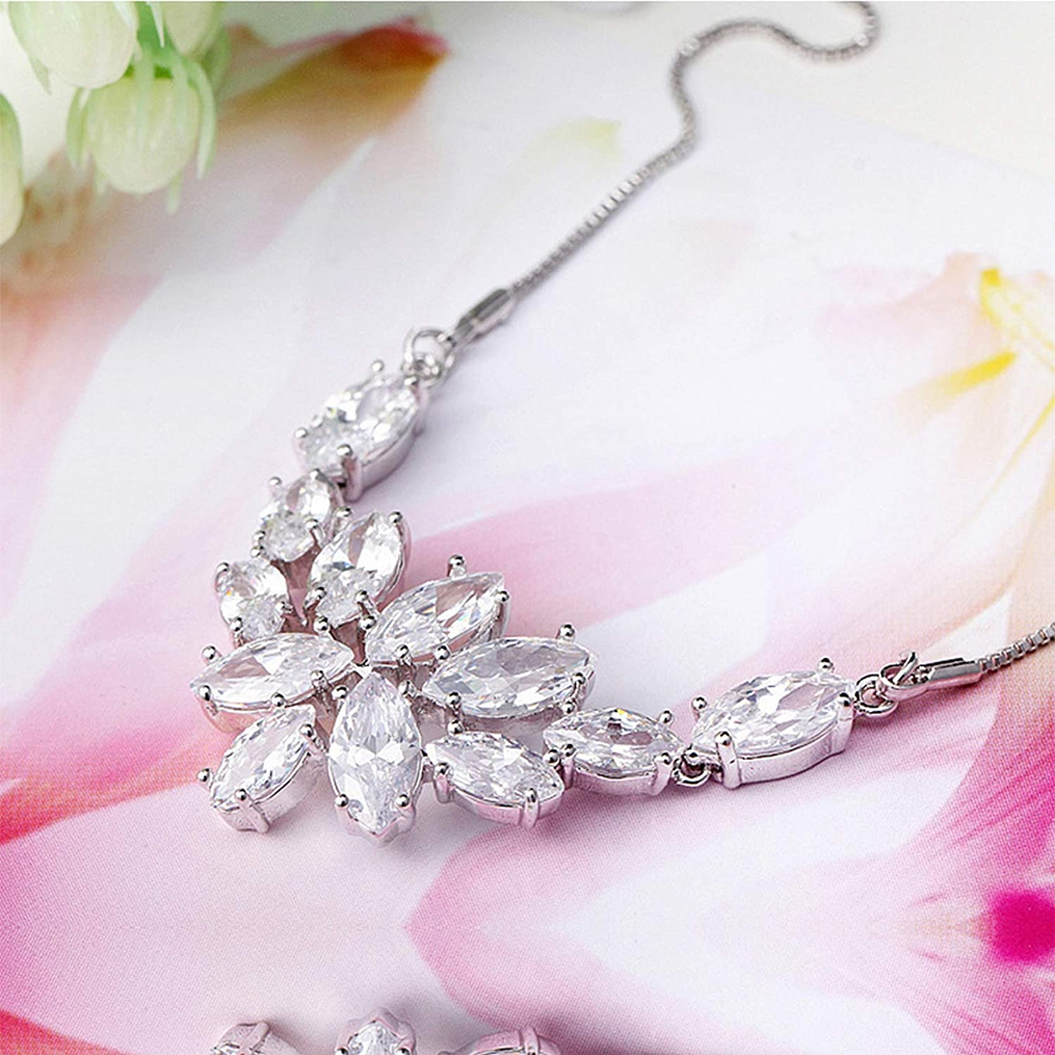 MMC Silver Necklaces Blossoming of Love Marquise-Cut CZ Womens Pendants