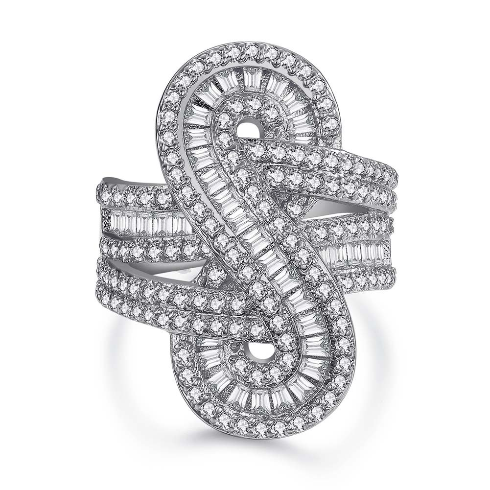 Serend Symbol ''8'' Baguette Design Forever Infinity Ring with CZ Diamond 18K White Gold Plated, Size 8