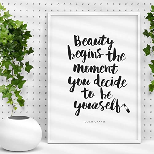 Amazon Coco Chanel Quote Typography Poster Beauty Begins The