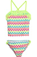 Attraco Little Big Girls Rainbow Wave Stripe Two Piece Swimsuit Cute Tankini Set