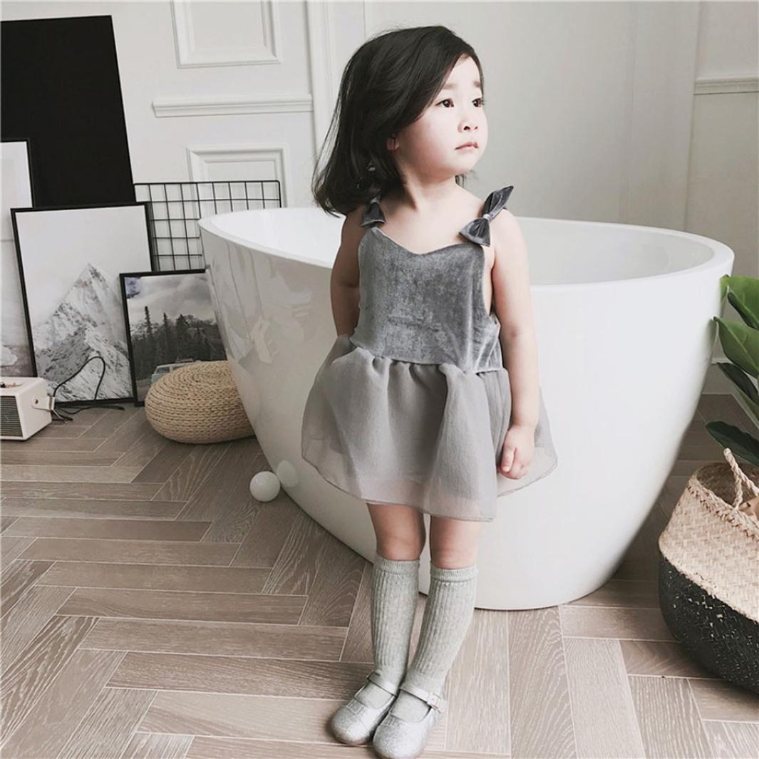 0-4T Princess Solid Bowknot Backless Pleuche Strap Skirt+Shorts WARMSHOP Summer Dress Clothes for Toddler Girls