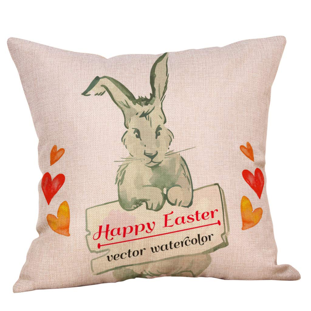 Finedayqi 🐳🐳 4PC Easter Bunny Pillow Cover Linen Sofa Cushion Cover Home Decor Pillow Case