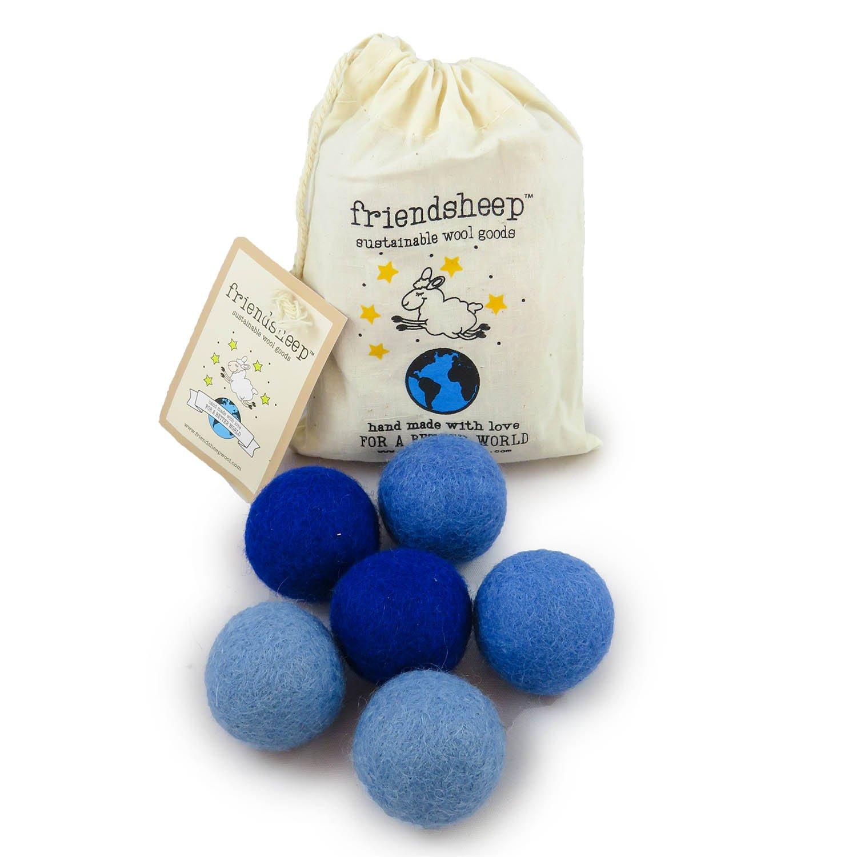 Friendsheep Eco Wool Pet Toy Ball - Cat, Ferret, Small Dog - Fair Trade, Handmade in Nepal, Eco-Friendly - 100% Wool, 6-Pack (Balls x6, True Blue)