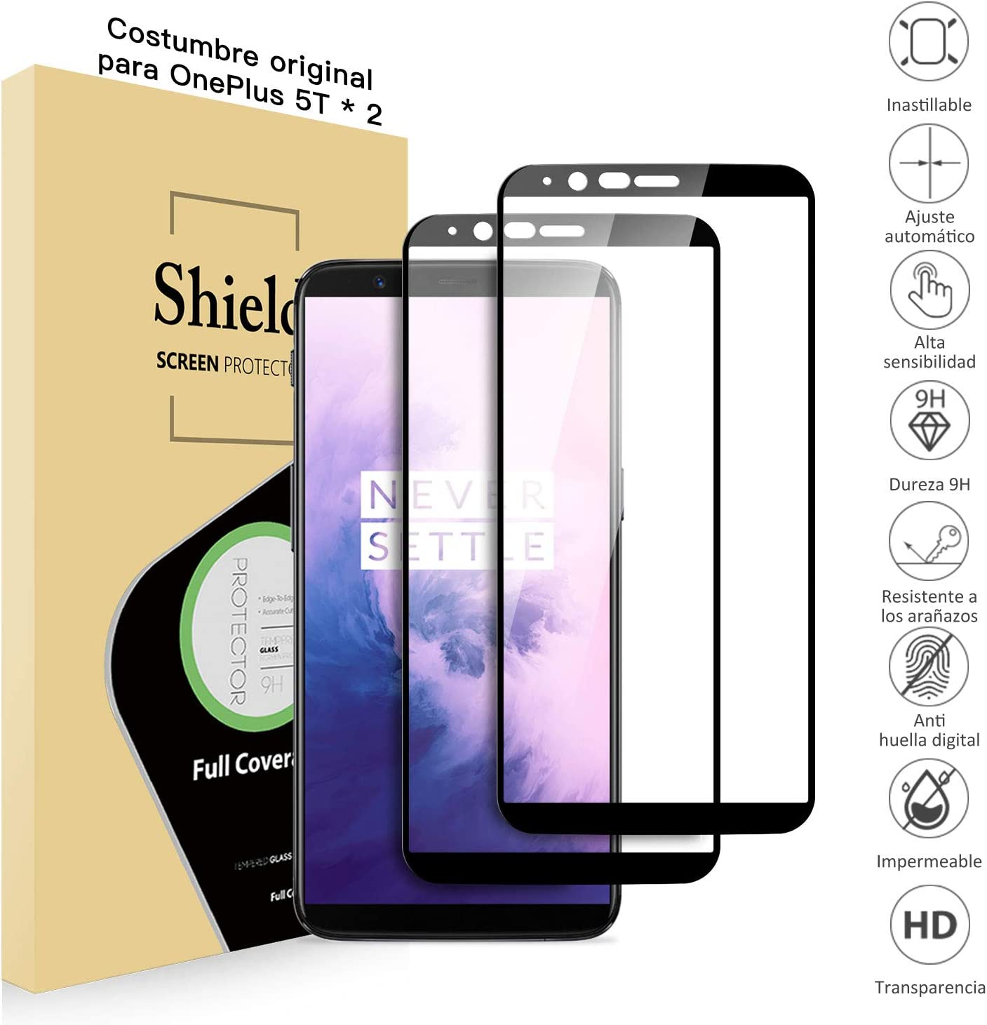 Bonslan Protectores de Pantalla OnePlus 5T (x2), Cristal Templado ...