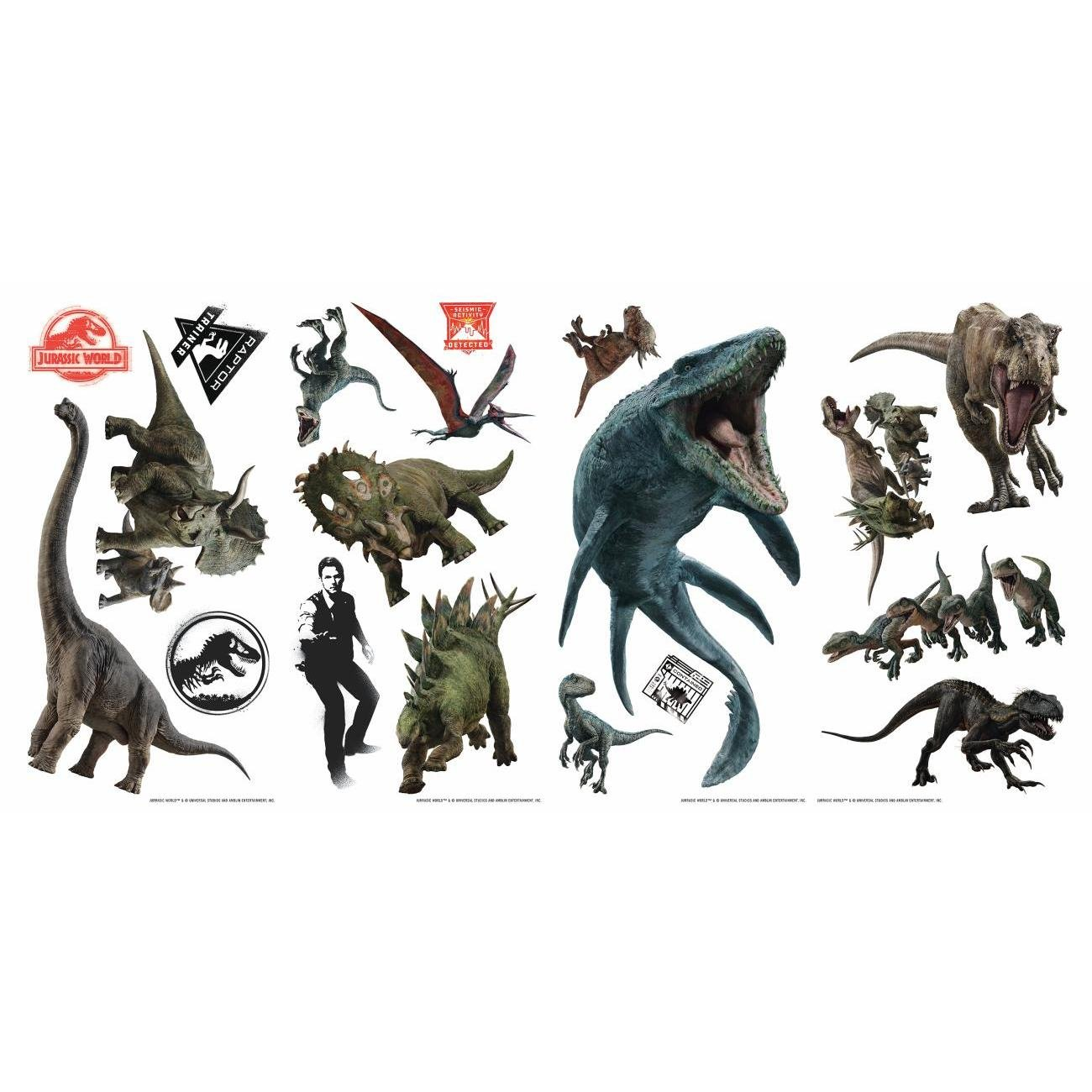 Jurassic World: Fallen Kingdom Repositionable and Removable Peel and Stick Wall Decals