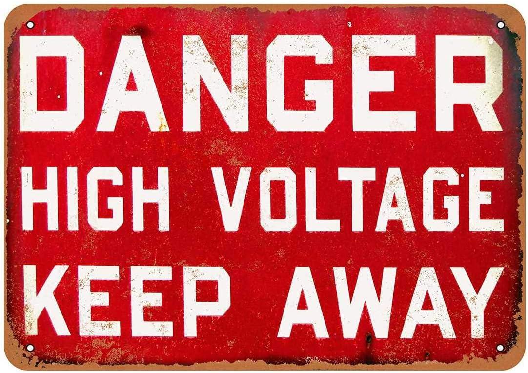 M/étal 6x9 inches Plaque en aluminium Fhdang Decor Danger High Voltage Keep Away style vintage multicolore