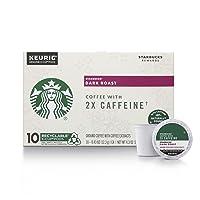 Starbucks Dark Roast K-Cup Coffee Pods with 2X Caffeine — for Keurig Brewers — 6...