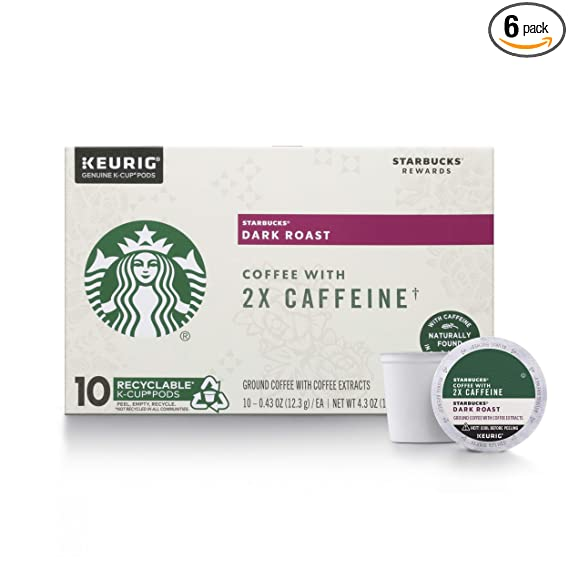 Amazon Com Starbucks Dark Roast K Cup Coffee Pods With 2x Caffeine For Keurig Brewers 6 Boxes 60 Pods Total Grocery Gourmet Food