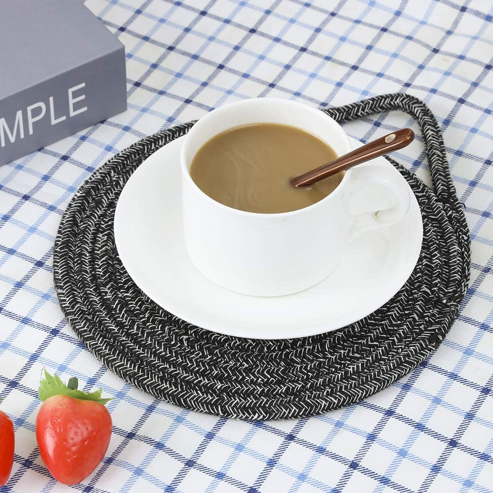 Multi-use for Hot Pan Dish and Bowl Braided Cup Coaster for Kitchen Cotton Thread Pot Trivet with Stylish Hanging Loop Set of 3 Diameter 7 Inches