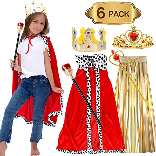 coggifel halloween costume king and queen costumes with sceptre robe crown wand cloak tiara party favors